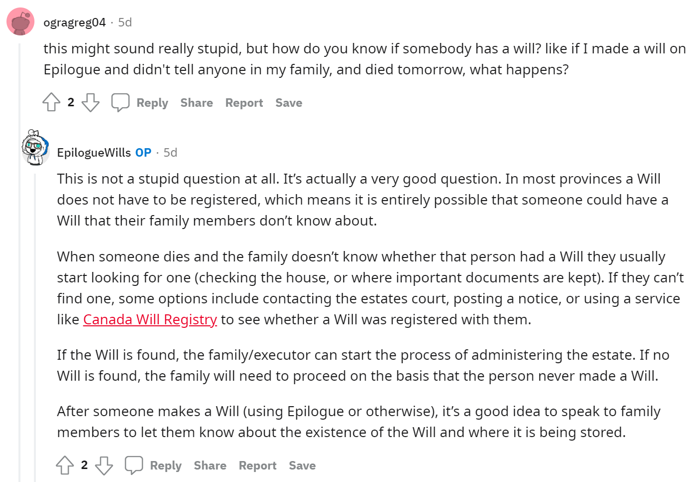 Epilogue Wills Reddit AMA - How Does Someone Know About A Will