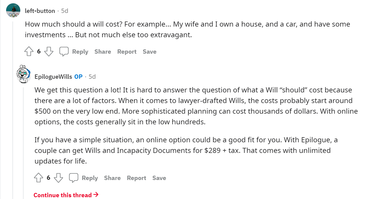 Epilogue Wills Reddit AMA - Cost Of A Will